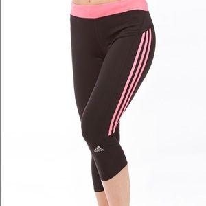 Adidas Response Pink Striped Capri Leggings